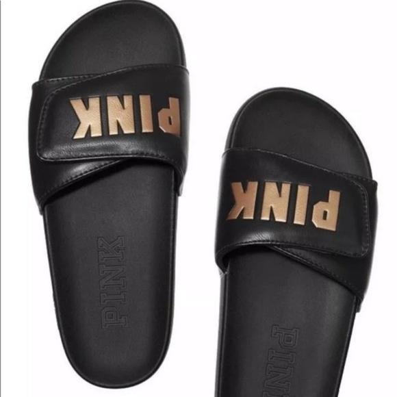 PINK Victoria's Secret Shoes - Victoria Secret (Black&Gold) slides